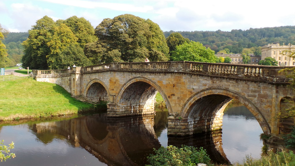 Chatsworth House - Sept 2014 - Esther on the Bridge