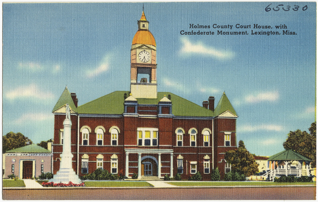 Holmes County Court House, with Confederate Monument, Lexington, Miss.