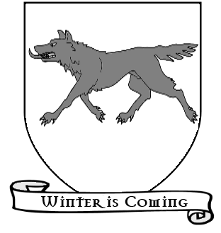 File:A Song of Ice and Fire arms of House Stark running direwolf white scroll.png